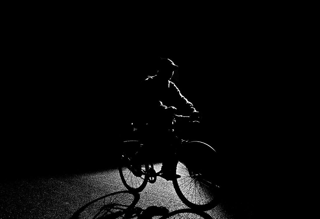 Biking Down Church Street, Lower Manhattan, NYC